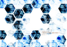 Geometrisk teknologisk digital abstrakt modern blå sexhörningsbac Royaltyfria Bilder