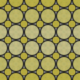 Geometrisk textur med gulingcirklar på Gray Background Arkivfoton