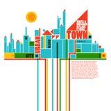 geometrisk town för abstrakt sammansättning stock illustrationer