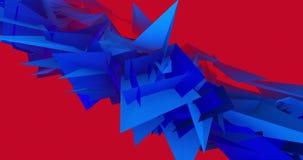 Geometrisk triangel som svävar och pulserar i blått på röd video animering för bakgrund 4k