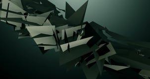 Geometrisk triangel som svävar och pulserar i den mörka Grey Background 4k videopd animeringen