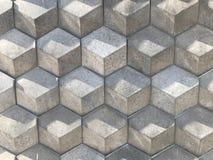 Geometrisk vägg för modellGray Hexagon tegelsten 3d texturerade bakgrund för väggmonokromabstrakt begrepp Fotografering för Bildbyråer