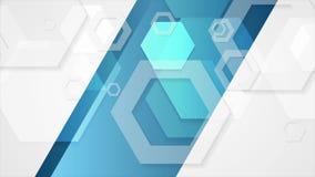 Geometrisk video animering för abstrakt tech för blåa grå färger lager videofilmer