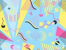 Geometriska beståndsdelar i Memphisen utformar, färgrikt geometriskt kaos Retro 80-talstil vektor stock illustrationer
