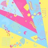 Geometriska beståndsdelar i Memphisen utformar, färgrikt geometriskt kaos Retro 80-talstil vektor royaltyfri illustrationer