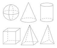 Geometriska former för volym: sfär kotte, cylinder, kub, pyramid stock illustrationer