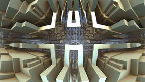 geometriska former som 3D svävar i utrymme, labyrinten 3D eller labyrint Royaltyfria Bilder