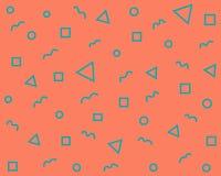 Geometriska formtrianglar, cirklar, vågor, diamanter, fyrkanter på en orange bakgrund royaltyfri illustrationer