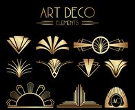 Geometriska Gatsby Art Deco Ornaments eller garneringbeståndsdelar stock illustrationer
