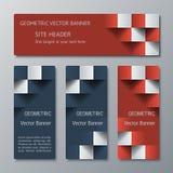 Geometriska horisontal- och vertikala baner av den samma bredden med effekten 3D för en affärswebsite Arkivfoton