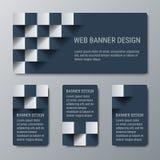 Geometriska horisontal- och vertikala baner med effekten 3D för affärswebsite Royaltyfria Bilder