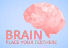 Geometriska låga poly Brain Logo stock illustrationer