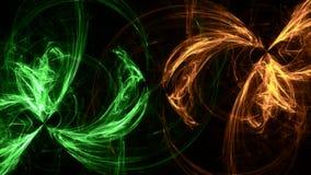 Geometriska ljusa former för grön neonbakgrund stock illustrationer