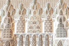 Geometriska modeller: Moské för detaljkonung Hassan II, Casablanca, Marocko royaltyfria foton