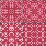 geometriska modeller Uppsättning av bleka röda sömlösa bakgrunder