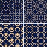 geometriska modeller Uppsättning av guld- blåa sömlösa bakgrunder