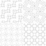 geometriska modeller Uppsättning av ljus - vita sömlösa bakgrunder för grå färger och Royaltyfria Bilder