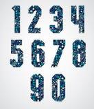 Geometriska nummer som dekoreras med blå PIXELtextur Arkivbilder