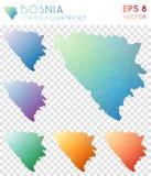 Geometriska polygonal översikter för Bosnien, mosaikstil vektor illustrationer