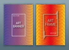 Geometriska räkningar planlägger affischen med en ram Färgrik bakgrund med lutningar Purpurfärgad, röd och orange färg vektor illustrationer