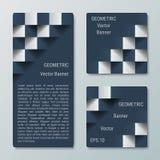Geometriska rektangulära och fyrkantiga vertikala baner med effekten 3D för affärswebsite Arkivbild
