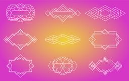 Geometriska symboler, tecken, etiketter, arkivbild