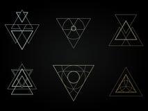 Geometriska symboler, tecken, etiketter, royaltyfri bild