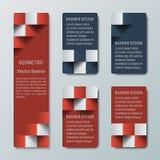Geometriska vertikala höga och medelrektangulära baner med effekt 3d för en affärswebsite Royaltyfri Foto
