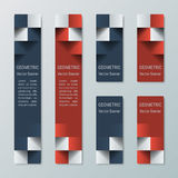 Geometriska vertikala höga och medelsmala rektangulära baner med effekt 3d för en affärswebsite Royaltyfria Foton