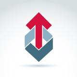 Geometriskt abstrakt symbol med pilen, elem för grafisk design för vektor royaltyfri illustrationer