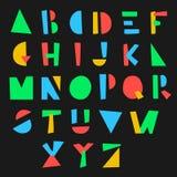 Geometriskt alfabet för tecknad film Arkivfoto