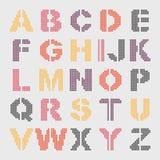 Geometriskt alfabet för PIXEL Arkivfoton