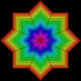 Geometriskt diagram i form av en blomma på en svart vektor illustrationer