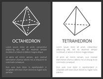 Geometriskt formdiagram för Octahedron och för Tetrahedron royaltyfri illustrationer