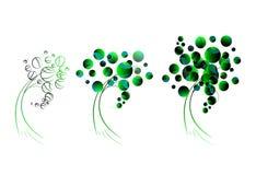 Geometriskt grönt träd, logo Arkivbilder