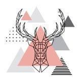 Geometriskt huvud av en hjort på en skandinavisk bakgrund Royaltyfri Fotografi