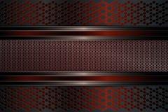 Geometriskt mörker - röd bakgrund med metallramen med list Fotografering för Bildbyråer