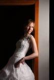 Geometry. Fashion bride in black studio Royalty Free Stock Photos