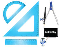 Geometry. Set instruments isolated on white background Stock Image