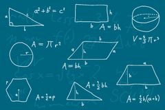 Geometry. Hand written doodle illustration - geometry formulas. Formulas for polygon area, triangle properties and other Stock Image