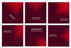 Geometry Abstract background set . 6 Abstract background. red background. Geometry Abstract background set stock illustration