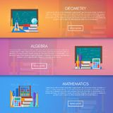 Geometry, algebra and math vector banners. Science education concept poster in flat style design Royalty Free Stock Image
