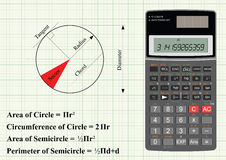 Geometry of a circle. With scientific calculator Stock Illustration