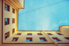 Geometry of the city. The bottom geometrical view of the city ya Royalty Free Stock Photo