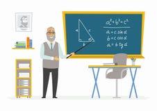 Geometry Classroom - male teacher composition at the blackboard. Geometry Classroom - modern vector character illustration of senior male school teacher of Stock Photo
