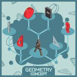 Geometry color isometric concept icons Stock Image