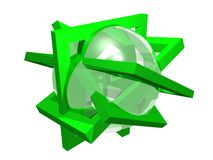 Geometry composition. From green frames and transparent sphere, isolated on white Stock Images