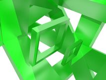 Geometry composition in green. Geometry composition from green frames, isolated on white Stock Photo
