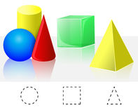 Geometry. Cube, Pyramid, Cone, Cylinder, Sphere Royalty Free Stock Photo
