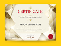 Geometry diploma certificate template design with international stock illustration